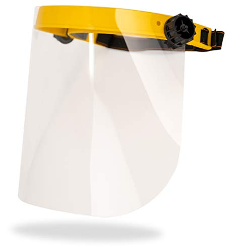 SAFE HANDLER Clear Face Shield   Reusable Full Face Protection, Eyes, Nose & Mouth Coverage, Lightweight Polycarbonate Visor, Yellow