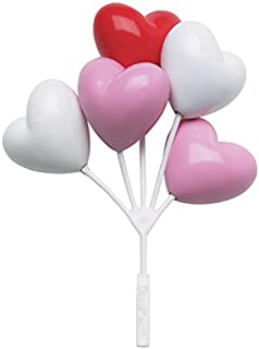 Balloon Clusters Heart Shaped Red Pink White Cake / Cupcake Toppers - 3 Count