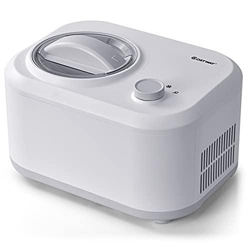 COSTWAY Máquina para Hacer Helados de 1 L Heladora Eléctrica de 100 W con 3 Modos/Compresor Incorporado/Cuchara para Hogar (Blanco)