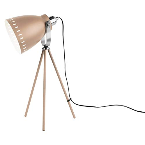 Present Time - Lampe de Table Abat Jour Beige et cuivre Mingle
