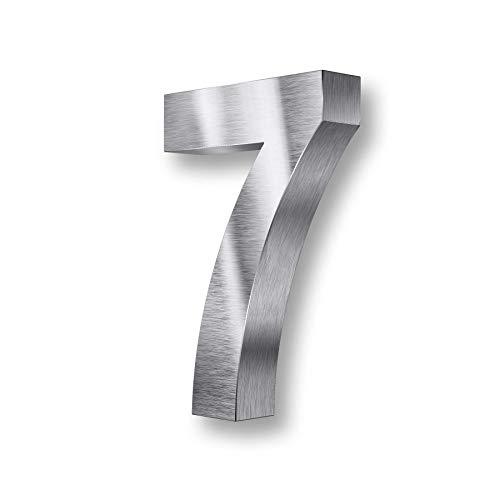 Metzler 3D Hausnummer Edelstahl - wetterfest & pflegeleicht - Außenbereich geeignet - mit Montagematerial - grob geschliffen (7)