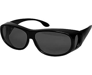 Fit Over Sunglasses Polarized Lens Case Included Wear Over Prescription Eyeglasses 100% UV Protection for Men and Women Smoke Grey Lens