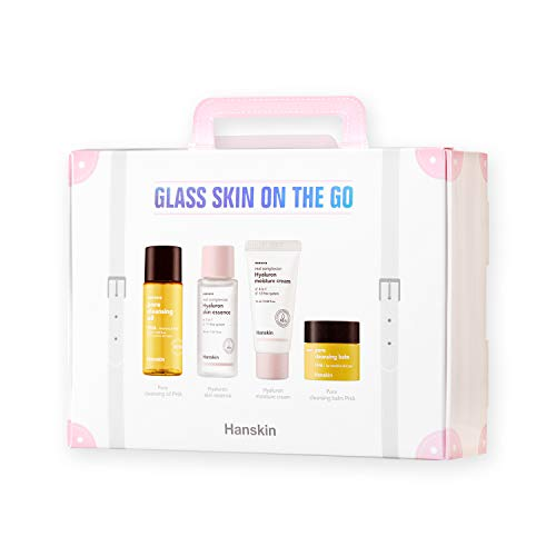 Hanskin Glass Skin On The Go Set, Essential Travel Skincare Set for Glowing Skin on the Plane, Cleansing Oil Skin Essence and Moisturizer [Set of 4/30 ml each]