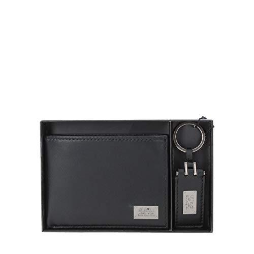 Sleutelhanger + sleutelhanger 032 GUESS heren van leer zwart met klep MET TesERE + MONETE CM 9,5 x 12,5 x 1,5