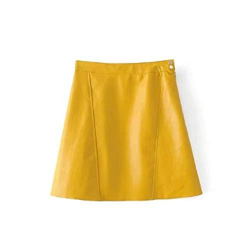 NOBRAND Frühling und Herbst Candy Color Lederrock mit zwei Knöpfen Reißverschluss Lederrock A-Linie Rock Gr. 36, Gelb Nn1812