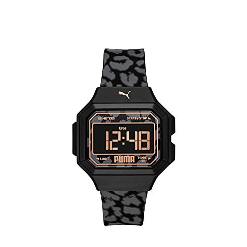 PUMA Women's Mini Remix Polycarbonate Digital Watch with Polyurethane Strap, Multicolor, 16 (Model: P1058)