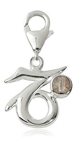 Charm Sternzeichen Anhänger Steinbock 18mm, 925 Sterling Silber mit Bergkristall Edelstein, Sternbild für Armband Kette