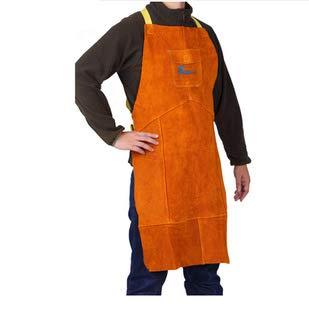 TYXHZL Schort leer schort - Lassen werk kleding mannen zware schort hoge temperatuur brandwerende gereedschappen schort vader unieke gift arbeid verzekering schort (60 * 90cm),L