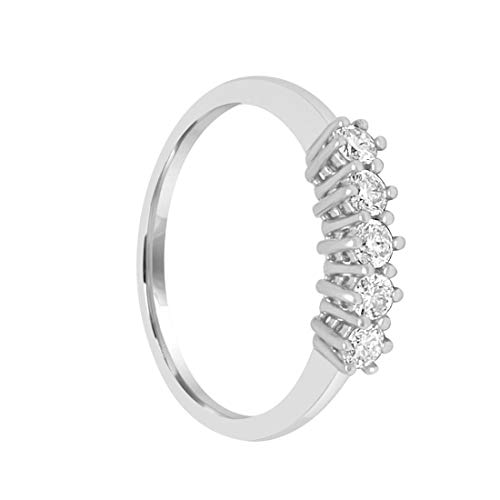 anello veretta donna in oro bianco 18kt - 750 con diamanti 0.27ct g h - vvs regalo per lei anello donna promessa anello donna diamanti anello con 5 diamanti