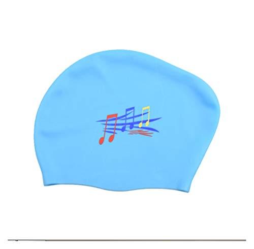 Cómodo Señoras de gran tamaño de goma silicona impermeable cabello largo cabello nadador gorro femenino equipado con gorra de buceo profesional para niñas niños adolescentes ( Color : Sky Blue )