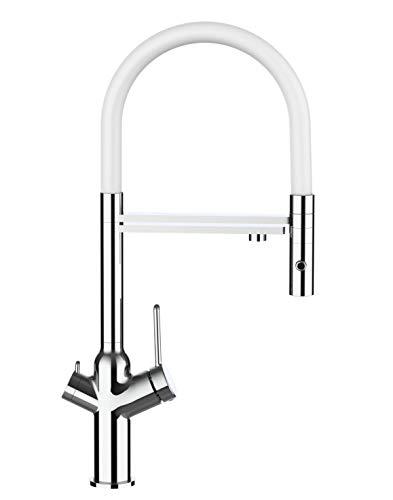 Grifo de cocina 4 vías sistema de carbonatación de agua y filtración/ purificación de agua y ducha extraible 2 functiones - Cromo / Blanco