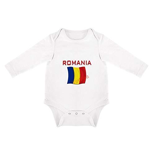 VinMea Divertido body de manga larga, con bandera rumana (rojo) para recin nacidos (0-3 meses, color blanco