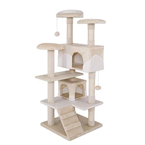 dibea Tiragraffi per gatto albero tiragraffi gatto gioco giocattolo gatti Altezza 130 cm beige/bianco