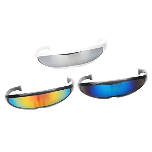 D DOLITY 3er Set Futuristische Sonnenbrille verspiegelte Brille für Kostüm Party Club Tanz Props