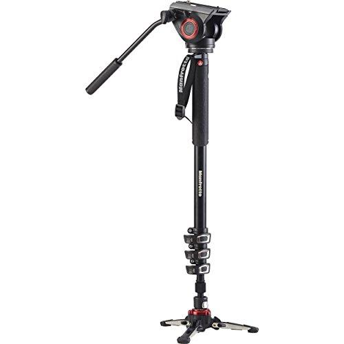 Manfrotto XPRO+ Video-Einbeinstativ, Foto- und Videokamera Tragestab mit Video-Kopf, 4 Aluminium Segmente mit Fluid-Sockel, Fotozubehör für Content Creation, Video, Video-Blogs