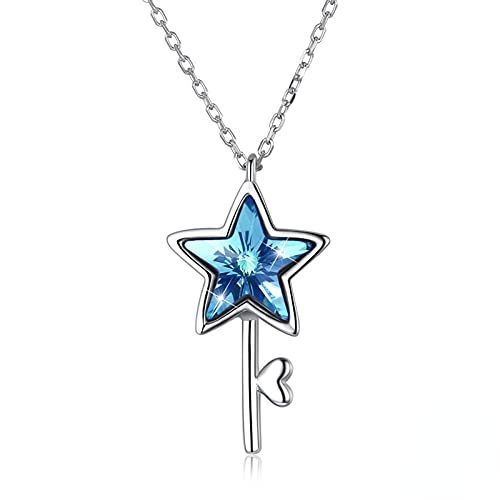 Yandm Sterling Silver Star Heart Key Pendant Necklaces for Women Colorful Austria Crystal Jewelry Romantic Gift Color-A