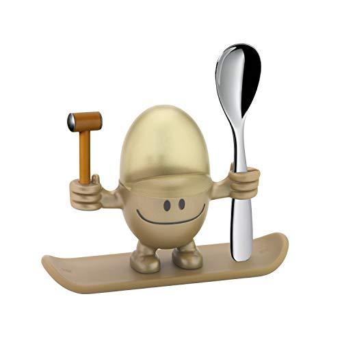 WMF McEgg Eierbecher mit Löffel, lustiger Eierbecher Kinder, Kunststoff, Cromargan Edelstahl poliert, spülmaschinengeeignet, gold