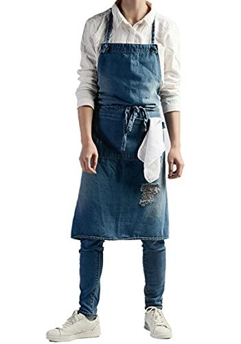 UKKD Delantal Unisex Cocina Denim Delantales Para Mujeres Hombres Restaurante Homewear Workwear Delantal Para Cocinar Chef Barista Bartender