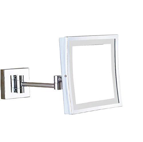 Bath Allumez Les miroirs fixés au Mur de miroirs de Maquillage, miroirs de Rasage menés bilatéraux pour la Douche, 3X Bronze huilé,Plug_8inch