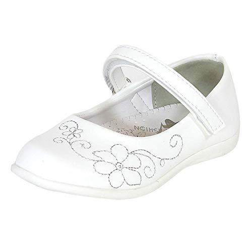 sleedy Baleriny dziewczęce rozmiar 22-27 I baleriny z haftem kwiatowym I odświętne buty dziewczęce jako buty ślubne / komunijne I zamknięte baleriny I antypoślizgowe, biały - biały - 23 EU
