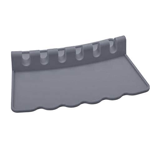 Baoblaze Reposapiés resistente al calor, cucharilla para la parte de la estufa, reposapiés de silicona con goteo para múltiples utensilios, soporte de - Gris