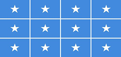 Mini Aufkleber Set - Pack glatt - 50x31mm - Sticker - Somalia - Flagge - Banner - Standarte fürs Auto, Büro, zu Hause & die Schule - 12 Stück