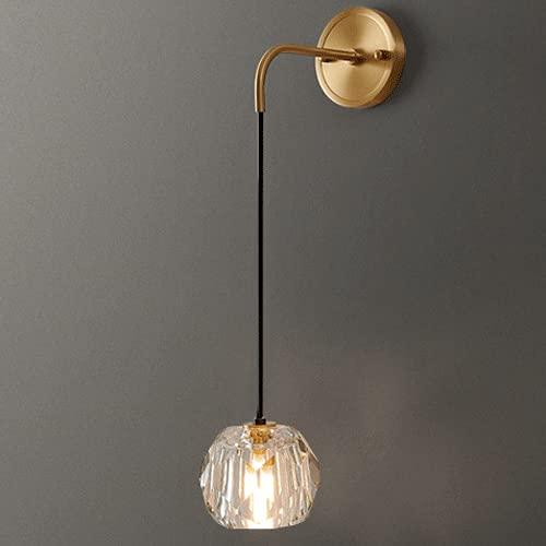 WANQINV Lámparas de pared de lujo de luz de cobre moderna Lámparas de pared ajustables de cristal K9 translúcido alto LED G9 Lámpara de pared de montaje empotrado Accesorio de sofá Fondo de pared Ilum