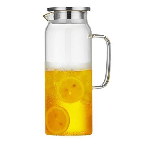 Jarras De Vidrio con Tapa Hervidor Frío De Mesa Familiar con Tapa De Acero Inoxidable Jugo Bebida De Leche Y Jugo (Color : Clear, Size : 1580ml)