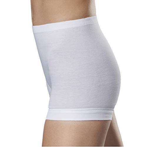 con-ta 5er Spar-Pack Damen Pagen-Schlüpfer mit Bein - Feinripp Unterhose - 100% Baumwolle - Weiß - Trockner geeignet (46, 5 X Weiß)