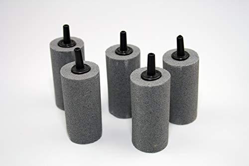 Osaga 5 x Luftausströmer 2,5 x 5 cm für Aquarium und Teich gesintert Zylinder Luftstein Sauerstoffstein Sprudler