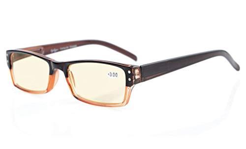 Eyekepper Frühling Scharnier Zweifarbig Farbe Computer Brille Leser lesen Gläser (Gelb getönte Gläser,Braun-klar)+0.5