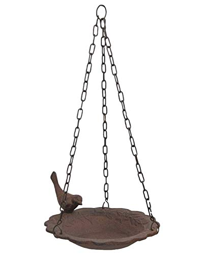 Hanging Birdbath Feeder Cast Iron Patio Garden Yard