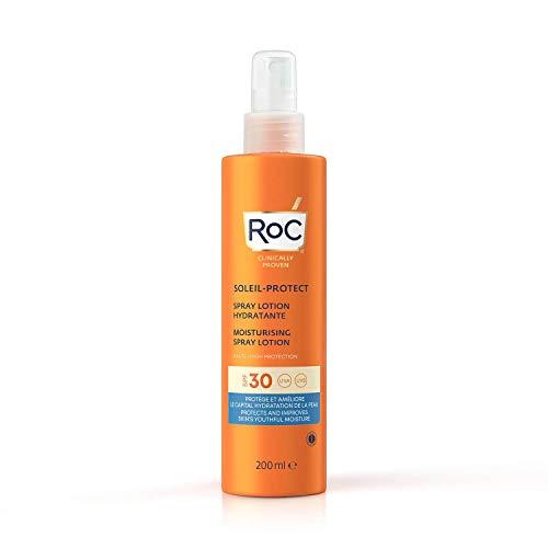 RoC - Lozione Spray Idratante Soleil-Protect SPF 30 - Crema solare non grassa - Alta Protezione - Resistente all'Acqua - 200 ml