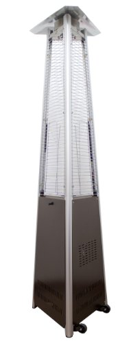 Hiland NG-GT-BRZ Natural Commercial Gas Glass Tube Pyramid Patio Heater w/Wheels, 42,000 BTU, Variable Heat Control, Bronze