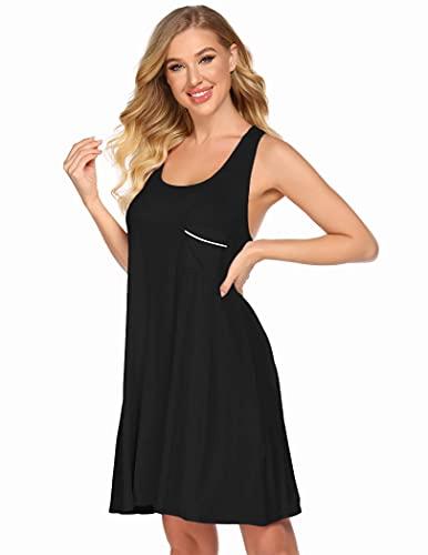 Ekouaer Sleeveless Nightshirt for Women Racerback Nightgown Summer Sleepwear (Black, XXL)