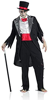 Mens Corpse Groom Costume Adults Black Zombie Wedding Suit - Large