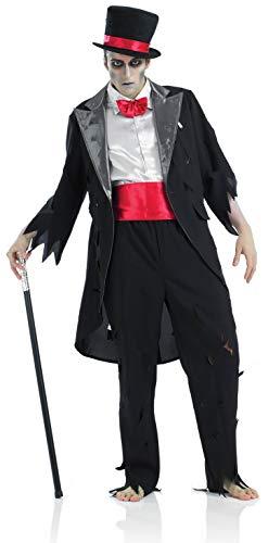 Fun Shack Schwarzes Zombie Bräutigam Kostüm für Herren, Halloween und Karneval - XL