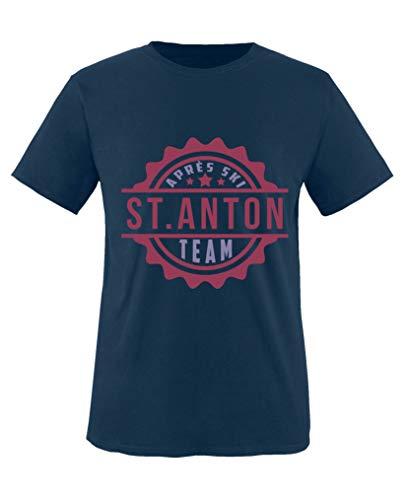 Comedy Shirts - Aprés Ski Team - St. Anton V1 - Mädchen T-Shirt - Navy/Violett-Fuchsia Gr. 86/92