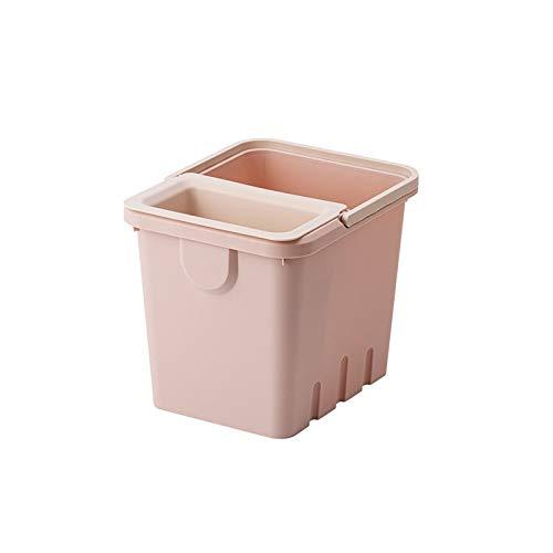 Lpiotyuljt Cubo Basura Reciclaje, Los latas de Basura domésticas Que se Pueden Colocar en el Material PP de la Cocina Pueden Separar la Basura sólida y líquida (Color : Pink)