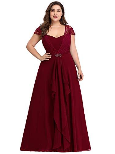 Ever-Pretty A-línea Vestido de Noche Encaje Escote Talla Grande Vestido de Fiesta para Mujer Borgoña 54