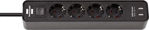 Brennenstuhl Ecolor Steckdosenleiste 4-fach mit USB-Ladebuchse (Steckerleiste mit 2x USB Charger, Schalter und 1,5m Kabel) schwarz