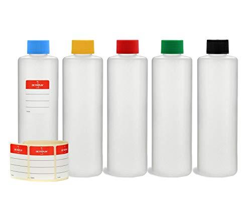 Octopus 5 x 250 ml HDPE Plastikflaschen mit bunten Schraubverschlüssen, runde Kunststoffflaschen BZW. Leerflaschen mit farbigen Schraubdeckeln, Rundflaschen inkl. Beschriftungsetiketten
