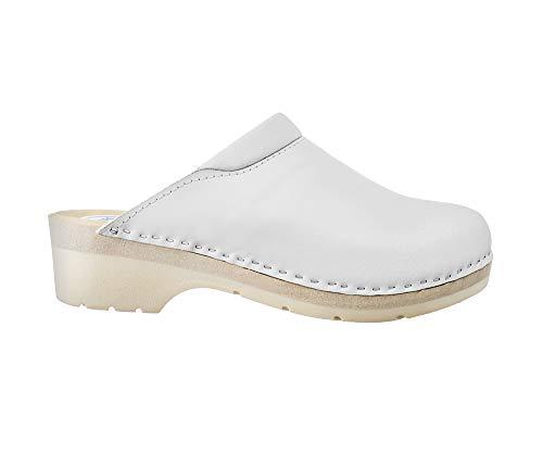 ESTRO Zuecos De Madera para Mujer Calzado Sanitario De Trabajo CDL02 (Blanco 1, Numeric_37)