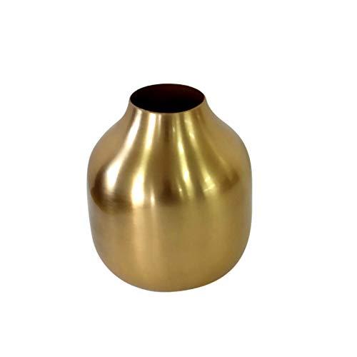 LaLe Living kleine Vase - Basit - aus Aluminium in Gold, Maße Blumenvase Ø8x10cm als Mini Deko auf dem Schrank, Regal oder als Tischdeko auf deinem Esstisch