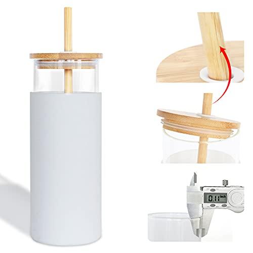 Ebingoo Glasbecher mit Strohhalm 450ml Trinkbecher mit Strohhalm für Home Office Becher mit Deckel und Strohhalm mit Silikon SchutzhüLle Holzdeckel Kann verwendet werden um kalte Getränke Kaffee(Weiß)