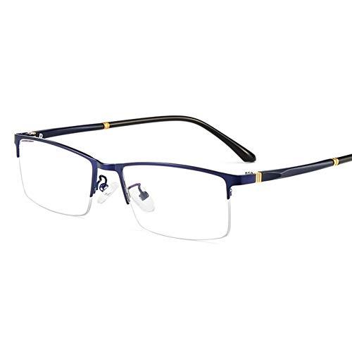 HQMGLASSES Männer Smart photochromen Anti-UV-Lesebrille, Retro rechteckige Rahmen Sonnenbrille mit asphärischen Linsen / UV400 Dioptrien +0,5-+3,0,Blau,+0.5