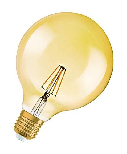 Lámpara Osram LED Vintage Edition 1906, forma de bola con casquillo E27, no regulable, reemplaza a 4.5 vatios, transparente, blanco cálido - 2500 Kelvin, 1 paquete