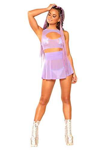 Lolita Mesh Skater Skirt in Lavender (Small/Medium)