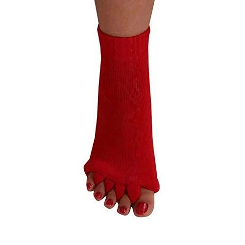 JINSUO 1 par Cinco Calcetines separadores de Dedos for los Dedos del juanete Corrector de Hallux Valgus ortopédica Ortesis Postura de corrección (Color : Bright Red)
