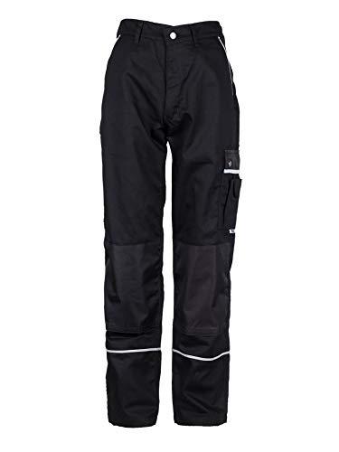 TMG® Lange Arbeitshose für Herren, Bundhose/Cargohose mit Kniepolstertaschen, Schwarz 48